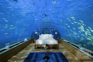 غرفة نوم تحت الماء في جزر المالديف مذهلة : مجموعة نبيل البريدية